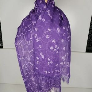 Coach sheer scarf, Purple Floral And Signature C